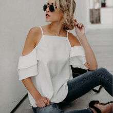 [OUTAD] Off-The-Shoulder Ruffled Sleeve Top Fashion Women T-shirt Female Pullover White M