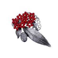 Jantens Vintage Stone Leaf Flower Brooches For Women 2018 Fashion Wedding Bouquets Lapel Brooch Pins Red