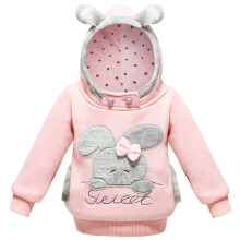 SiYing girls plus velvet hooded sweater children's cotton pullover top