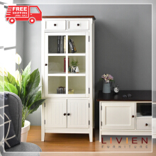 Lemari Kaca Dapur Cabinet French Country Series - LIVIEN FURNITURE