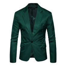Business Men Suits Solid Color Long Sleeve Casual Suits Coat with Pockets army green L