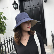 SiYing fashion casual double-sided fisherman hat ladies art sunscreen visor  Navy (plus beige)