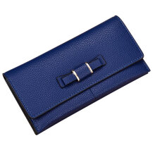 [LESHP]Women Purse Wallet Clutch Card Holder Bow PU Female Large Capacity Blue