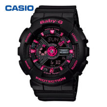 Casio Baby-G BA-111-1A Sports waterproof electronic watch-Black&Rose