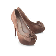 Pre-Owned Nappa Leather Peep-toe Platforms