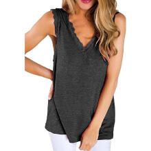 Women's Ladies Sleeveless Solid V-neck Blouse Shirt Pullover Tops