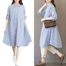 ESG New Plus Size Shirt Dress Style Fat mm Large Size women loose Long Sleeve Long Striped Blouse Dress Pregnant Dress