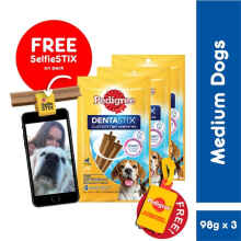 Pedigree Dentastix Medium Dogs 98Gr Perawatan Gigi Anjing [Isi 3 Pack]