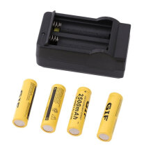[COZIME] 4pcs 14500 3.7V 2500mAh Rechargeable Li-ion Battery + Charger For Flashlight yellow