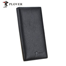[LESHP]PLOVER GD5919-8A Black Men Long Wallet Cow Leather Solid Slim Black