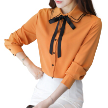 Jantens New fashion women shirt spring Peter Pan collar chiffon shirt with bow long sleeve elegant shirt