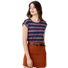 FACTORY OUTLET LO1709-0005 Women T-Shirt SS - 58G0 Navy Stripe Big