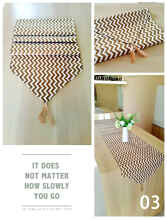 Jaxine - Taplak Meja Atau Table Runner Bahan Kanvas Zigzag Coklat 35x150cm Brown