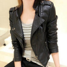 Fashion Beauty Women Fashion Faux Leather Jacket Turn-down Collar Short Coat Slim Fit Top