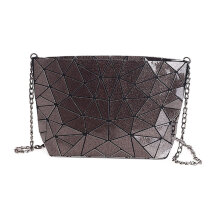 [LESHP]Geometric Irregular Pattern Small Satchel PU Leather Shoulder Bag Handbag Dark Brown