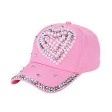[kingstore] Fashion Peach Love Rhinestone Diamond Child Hat Ladies Baseball Cap Blue