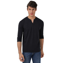 FACTORY OUTLET UG1802-0008 Mens T-Shirt 3/4 Sleeve - Black