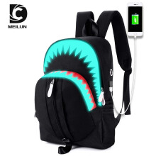 Keness Luminous shoulder bag male big mouth shark USB function backpack student bag personality tide Black