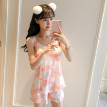 Farfi Fashion Lovely Flower Pattern Sleeveless Top Shorts Women Sleepwear Pajamas Set Pink XL