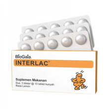 Interlac BioGaia Tablet Kunya Lemon Suplemen Makanan - 30 tablet