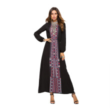 CAUSEY European and American fashion women's skirt printed long-sleeved dress