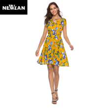 Newlan Q04 Fashion sexy ladies dress spring and summer cotton print dress