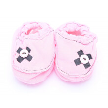 Cribcot Booties with Ribbon - Baby Pink & Dark Grey  3 -6M