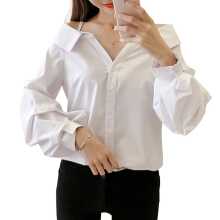 Jantens Off-the-shoulder shirt white lantern long-sleeved shirt women shirt hanging bandwidth loose