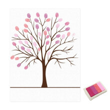 [kingstore]Wedding Guest Book Personalized Love Tree Wedding Gifts Fingerprint Painting Pink