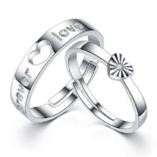 Kader adjustable The Forever Love S925 Couple ring for men and women-Silver