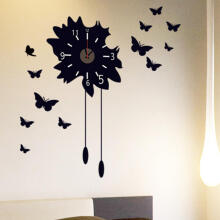Farfi Removable DIY Black Butterfly Clock Wall Decal Sticker Home Living Room Decor Black