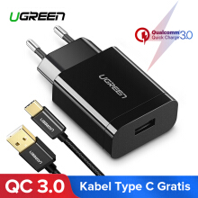 UGREEN QC3.0 Quick Charge 3.0 18W USB Wall Charger for Samsung S8 Samsung S9 Handphone HP Charger + Free 100CM Type C Fast Charging Data Cable