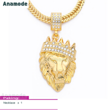 Anamode Gold Color Crown Lion Head Crystal Pendant Statement Necklace Women Men Jewelry