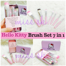 KUKE Kuas Hello Kitty Set/Kitty Brush Kaleng 7 in 1 / Make Up Brush Pink