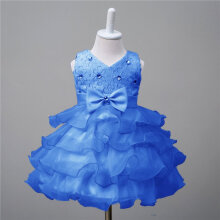 Fashionable Baby Girls Princess Dress Floral Printed Party Dress Costume Dress L