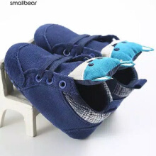 cute baby Prewalker Shoes Fox sepatu bayi baby Infant Toddler Crib Soft Bottom Anti-slip - biru size 12-24 bulan