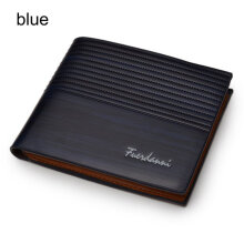[kingstore]Fashion Men Short Style Soft PU Leather Business Credit Cards Organizer Wallet Blue