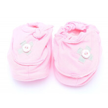 Cribcot Booties with Ribbon - Baby Pink & Light Grey Size 0-3M