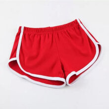 Pure Cotton Women Fitness Sports Running Shorts with Drawstring Elastic Waist Red One Size