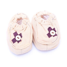 Cribcot Booties with Ribbon - Milk Choc & Coffee Brown   3-6M