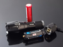 PAKET Senter LED Cree Laser E17 XM-L T6 2000 Lumens BATERAI + CHARGER Black Frame with red One Size