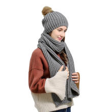 Farfi Women Winter Warm Solid Color Bobble Pom Pom Hat + Scarf Set Christmas Gift