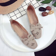Hollow Low Cut Uppers Flat Shoes Soft Loafers For Women Green 38