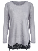 WEDO Lace Hem Long Sleeve T-Shirt Polyester Full Sleeve Scoop Neck Women Fashion T-Shirt Lace Gray S Grey S