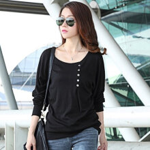 Female Sexy O Neck Loose Chiffon Blouse Shirt Women Summer Long Sleeve Blosues black S