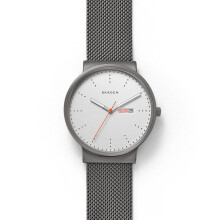 Skagen Ancher - Silver White Round Dial 40mm - Stainless Steel - Grey Mesh - Jam Tangan Pria - SKW6321 - SL