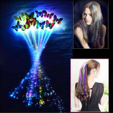 Farfi LED Flashing Light Butterfly Hair Clip Braid Optical Fiber Hairpin Party Decor Random Color
