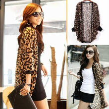 Fashion Beauty Women Fashion Leopard Patterned Chiffon Blouse Batwing Sleeve Top Cardigan as the pictures