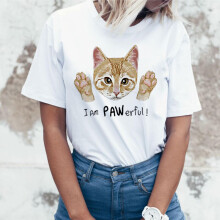 Women Girls Plus Size Print Tees Shirt Short Sleeve T Shirt Blouse Tops Cat