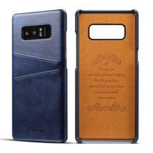 Blitzwolf Premium Cowhide Leather Card Slot Case For Samsung Galaxy Note 8 Blue  - Blue -